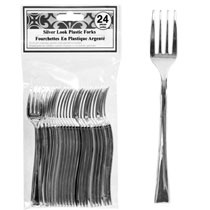 Use Silver-Look Mini Plastic Forks and Spoons from the Dollar store for guests to use at baby showers - Cute!