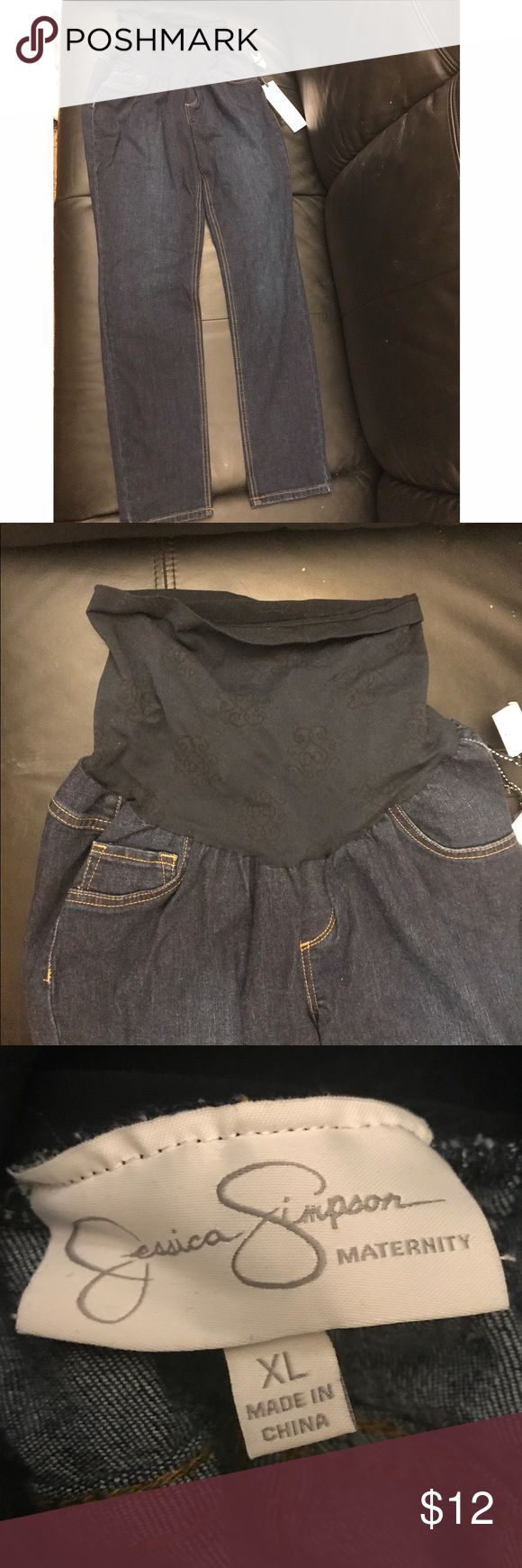 Jessica Simpson Full Panel Maternity Jeans - XL Brand new - Never worn (NWT) maternity jeans by Jessica Simpson.  The tag says XL but they fit like a 16.  That was my size in Old Navy jeans when I purchased them. These jeans feature a full panel so you can wear them your entire pregnancy.  Smoke and pet free home.  If you have any questions please feel free to ask. Offers welcome. Jessica Simpson Jeans Straight Leg
