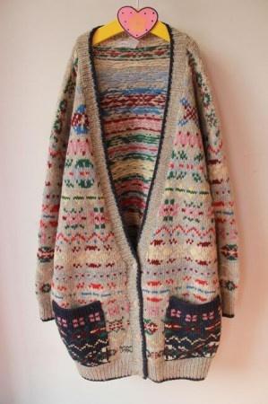 【图】vintage原宿街头风格 彩色翠花复古开衫大毛衣 100%羊毛 - 美丽说