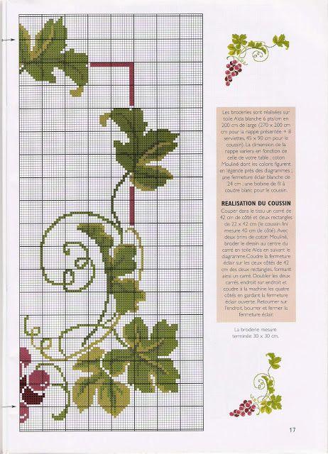 ♥Meus Gráficos De Ponto Cruz♥: Uvas e Vinhos em Ponto Cruz para Almofadas e Toalhas de Mesa