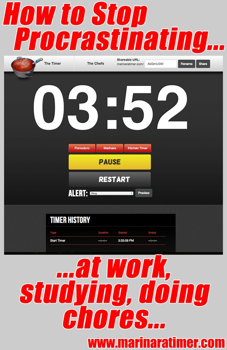 Use the Marinara Timer website to help you focus in blocks of time using the pomodoro method. a simple timer. or your own custom increm ...