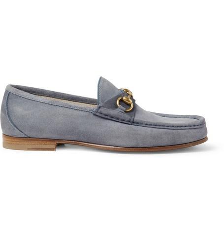 Gucci Horsebit Suede Loafers | MR PORTER