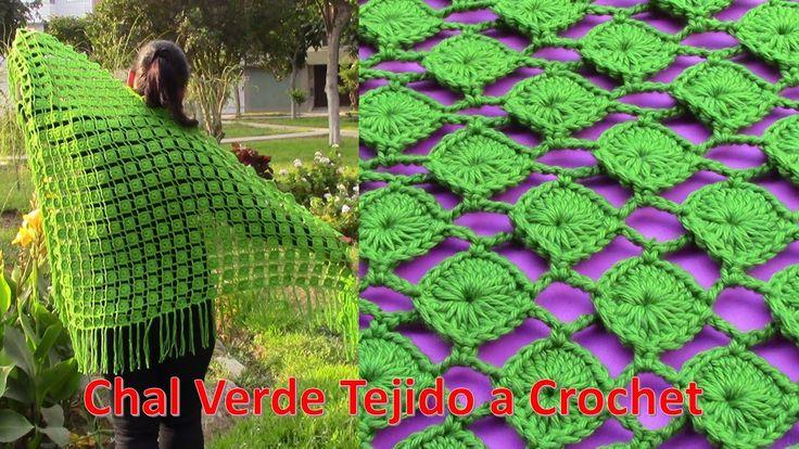 Chal Verde Tejido a Crochet en forma triangular paso a paso