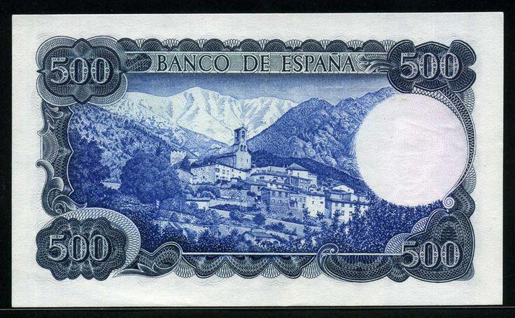 Spain money 500 Pesetas banknote of 1971, Jacint Verdaguer. - Obverse: Portrait of the poet Jacinto Verdaguer.  Reverse: View of Mount Canigo with Village of Vignolas d'Oris.  Printer: Fabrica Nacional de Moneda y Timbre (Spain)