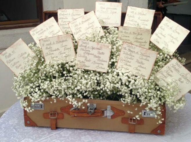 Tableau de Mariage: valigia con gypsophila  // matrimonio tema Viaggio, stile Vintage