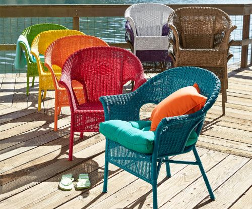 Cure cabin fever. Shop Pier 1 Outdoor Furniture: Casbah Chairs. I like the different blues and orange combo