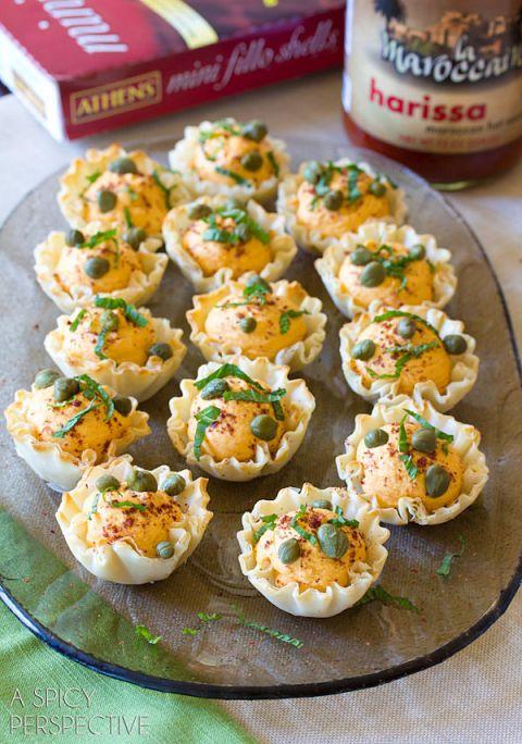 Easy Middle Eastern Deviled Egg Recipe in Fillo Baskets! #spring #deviledeggs