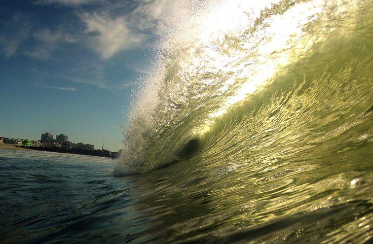 Photo taken of a Hurricane Crisotbal tube, Rockaway Beach surfing NYC Aug 2014. Small but playful.