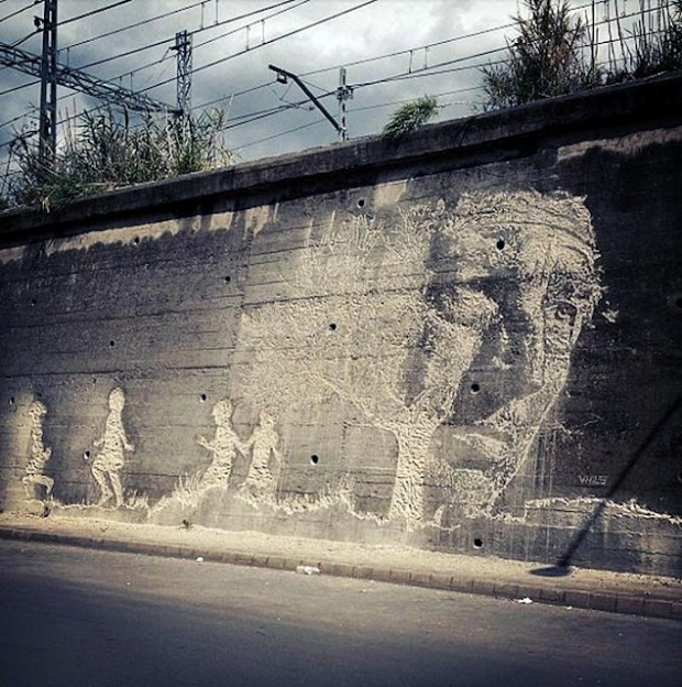 New Mural By Vhils In Spain