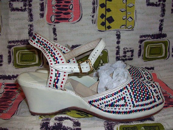 1940s Cream Wedges with Red Blue and Green Basketweave