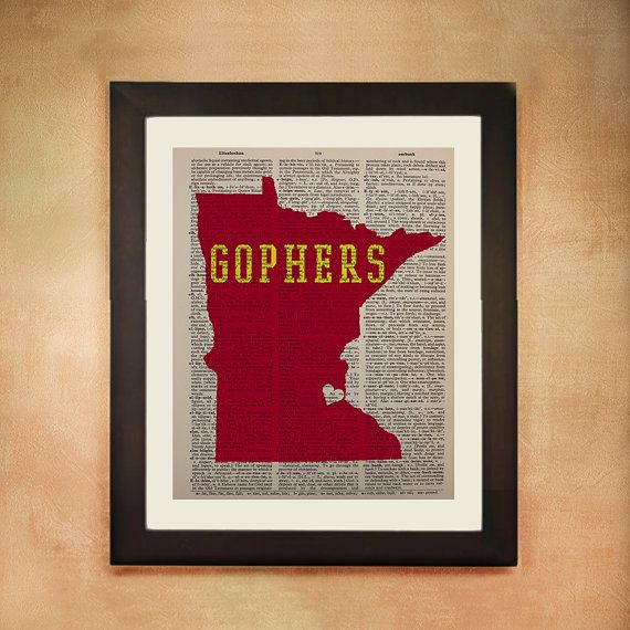 Minnesota Gophers Dictionary Art Print by Lexiconograph on Etsy