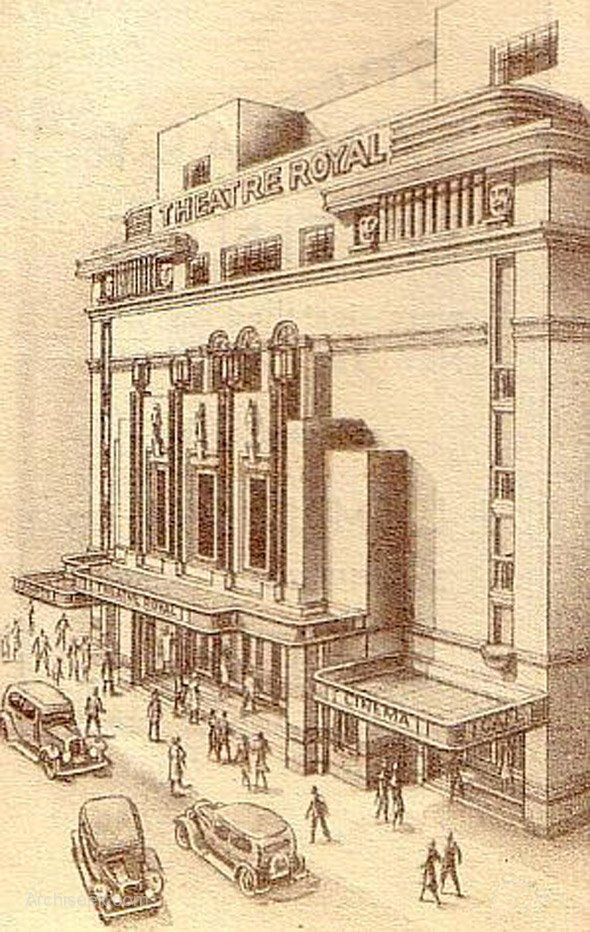 1935 - Theatre Royal, Hawkins St., Dublin - Architecture of Dublin City, Vanished Ireland - Archiseek.com - I remember the masks you can see on the facade - they were removed from the site at demolition and decorated the garden of a friend's house in Dublin.
