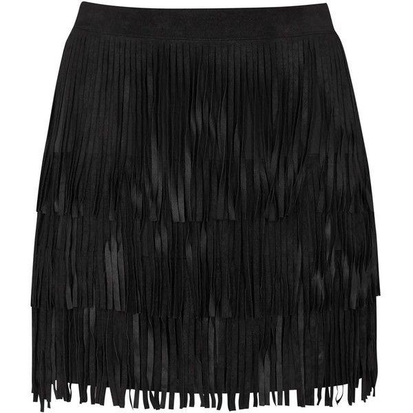 Womens Mini Skirts Alice + Olivia Lavana Fringed Suede Mini Skirt found on Polyvore
