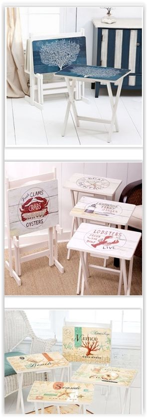 Painted TV Tray Tables with a Beach & Nautical Theme .......... #DIY #tvtray #table #stencil #paint #chalkpaint #stain #furniture #decor #crafts