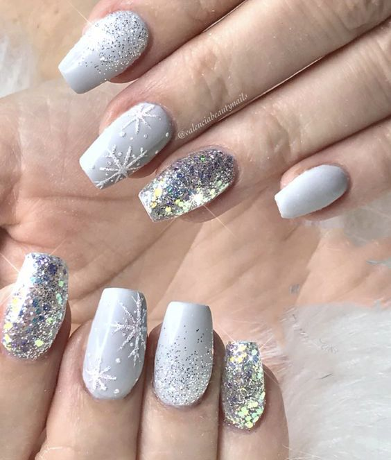 Leading 10 Light Shade Christmas Snowflake Coffin Nails in 2019