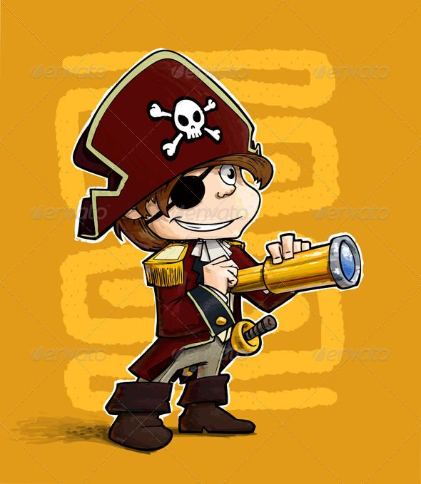 Little Pirate  #GraphicRiver         A grunge illustration of a boy dressed as pirate. The subject is compiled of 4 main objects: Line-art, Color, White Outline and Floor Shadow.  	 ENJOY !!! and… Rate if you like what you see… Thanx!!!     Created: 13February12 GraphicsFilesIncluded: VectorEPS Layered: Yes MinimumAdobeCSVersion: CS Tags: Tricornered #binoculars #bones #boot #boy #captain #carnival #cartoon #characters #child #costume #enjoyment #eyepatch #halloween #happiness #hat #jacket…