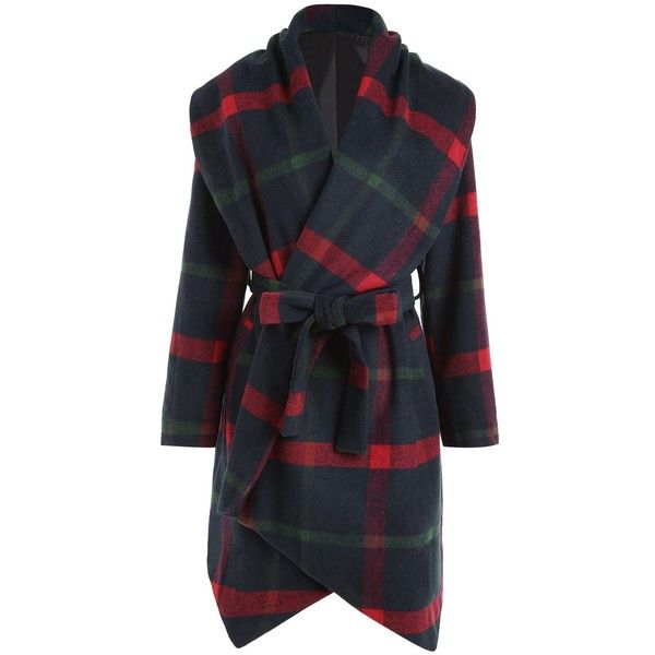 Checked 5xl Plus Size Plaid Wool Blend Belted Coat ($29) ❤ liked on Polyvore featuring outerwear, coats, checked coat, wool blend coat, checkered coat, tartan coat and belt coat