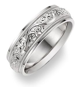 applesofgold.com – Paisley Design White Gold Wedding Band Ring – one of our best selling wedding rings for men & women, in 14k solid white gold or platinum.