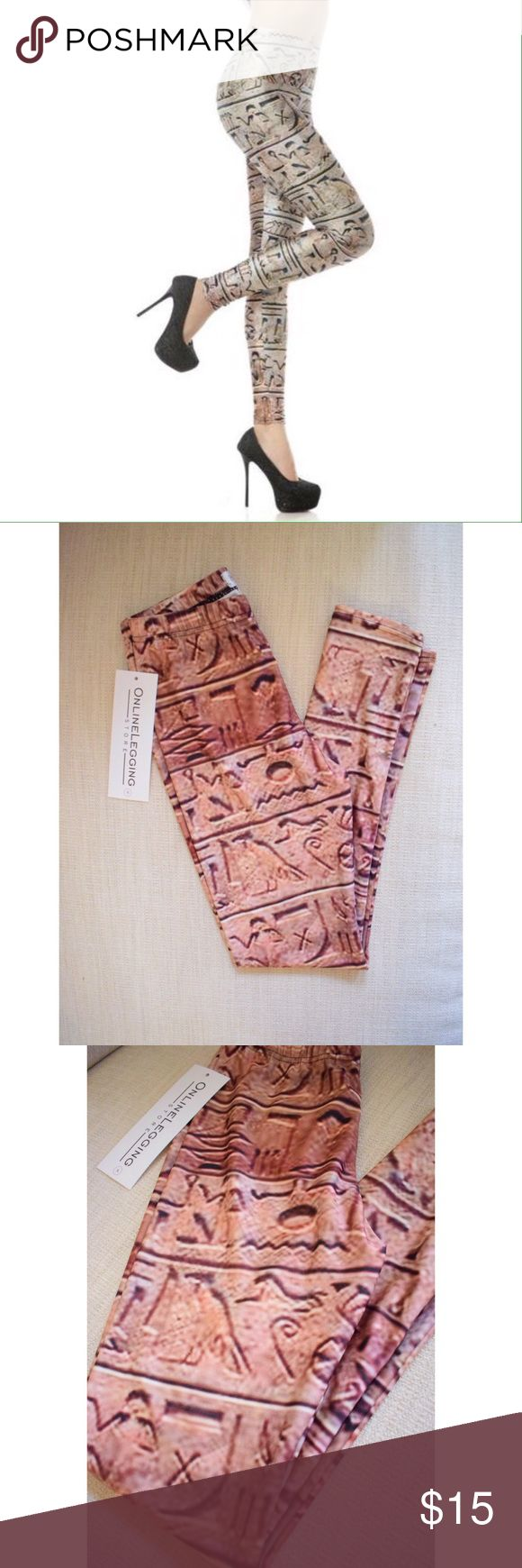 Shiny Egyptian Leggings Brand new, shiny, super cute Egyptian hieroglyphic leggings. Bought a ton of leggings but never wore some of them. Great quality and last forever. I use mine for yoga and also when I go out. They are more orange-ish than tan. My photos do the color more justice. Online Legging Store Pants Leggings