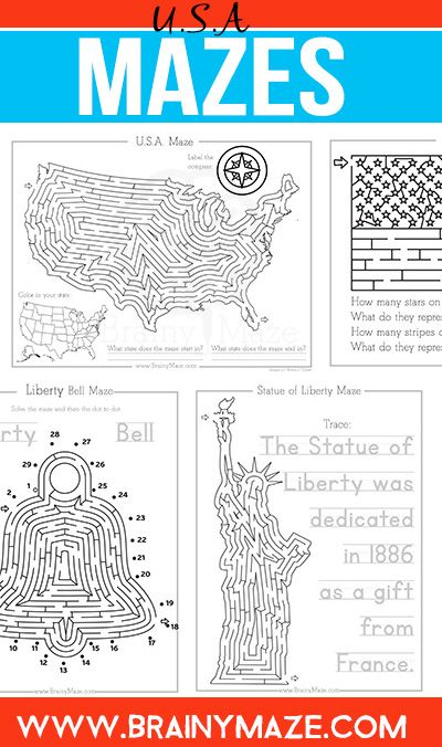 Patriotic Mazes for Kids