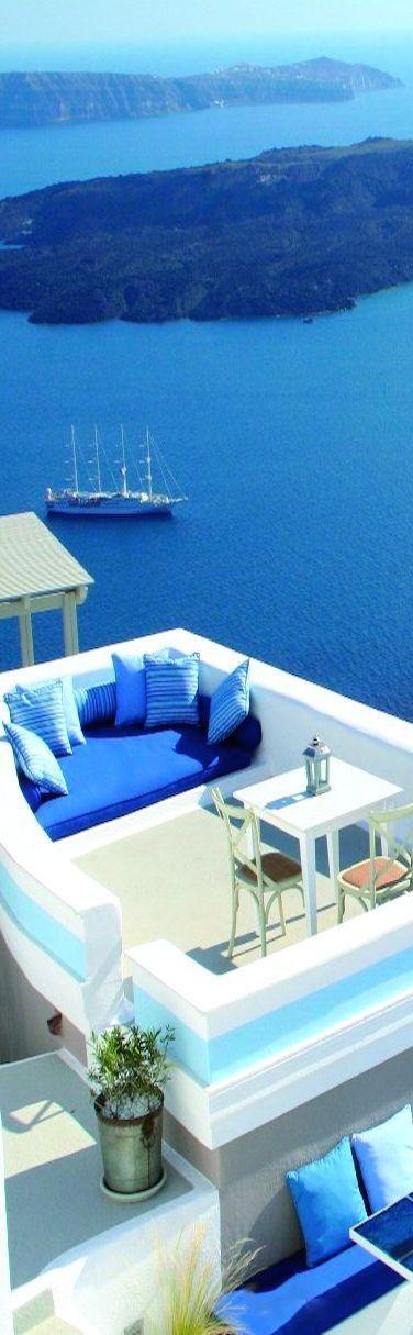 Chillout zone in Santorini, Greece
