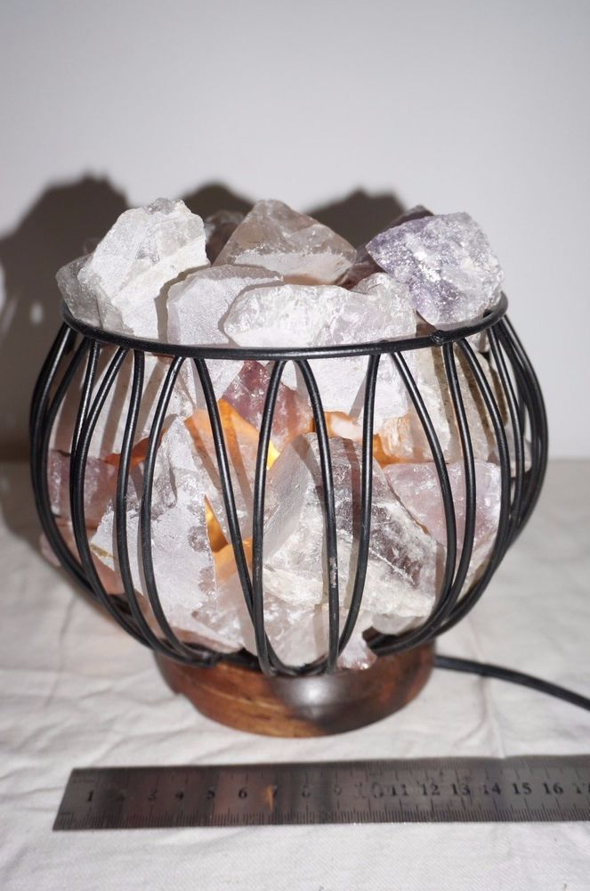 Amethyst lamp light Crystal Cage Health Natural Therapeutic cleanse gemstone