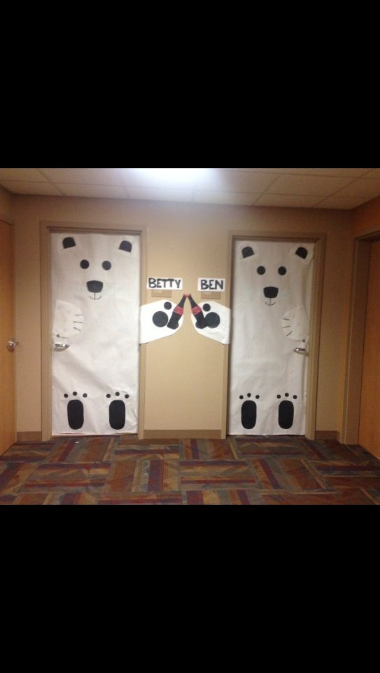 Holiday dorm room door decorations polarbears cocacola for How to decorate apartment door for christmas