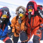 Guy Cotter, Victor Saunders, Ang Dorjee Sherpa on the summit of Mt Everest, 19 May 2006.