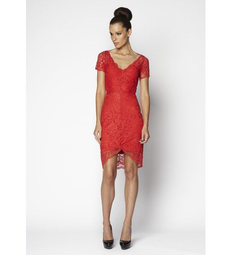 Very Very - Arabelle Red Coral Lace Dress  Fitted v-neck lace dress with short sleeve and hi-lo hem.    54% Nylon, 46% Rayon.    Made in Australia    BUY NOW