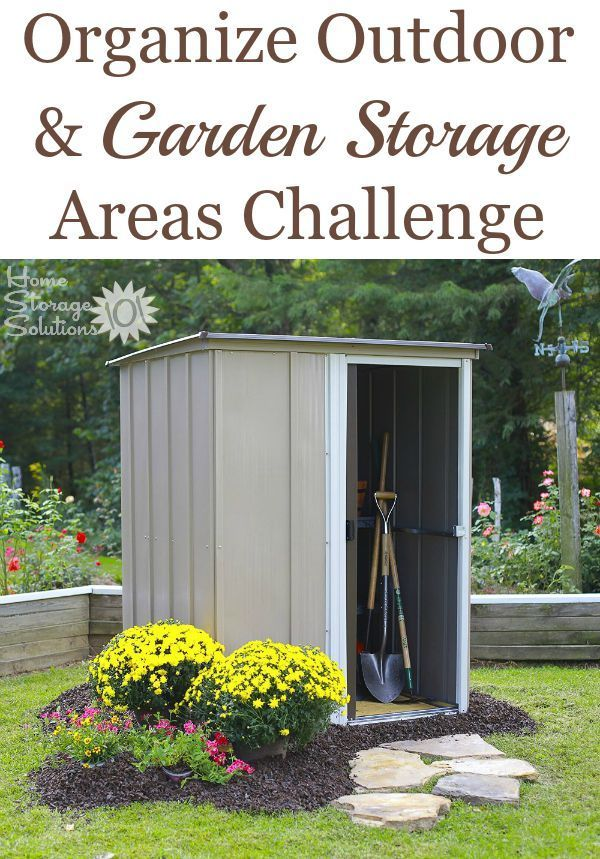 Step by step instructions for organizing your outdoor and garden storage areas including your gardening shed, outdoor sheds, patio, and decks. {part of 52 Week Organized Home Challenge on Home Storage Solutions 101}