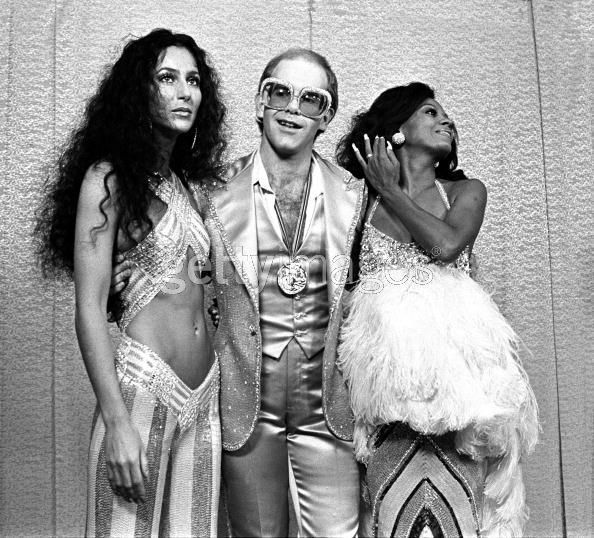 Cher, Elton John and Diana Ross at Rock Awards Santa Monica Civic Auditorium (1975) ~ Photo by Mark Sullivan