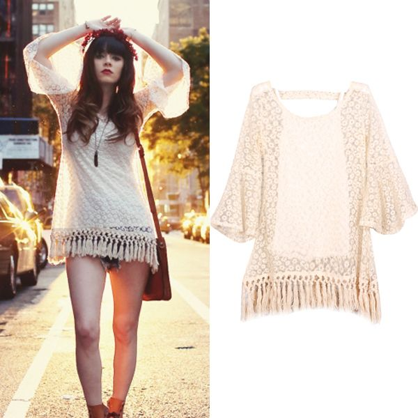 New 2014 Summer Designer Fashion Women Clothing Hot Cute Apricot Ruffle Sleeve Lace Embroidery Tassel Mini Casual Party Dress