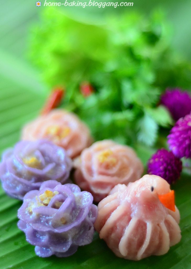 Chor Muang (Steamed Flower Shaped Dumplings) -ขนมช่อม่วง