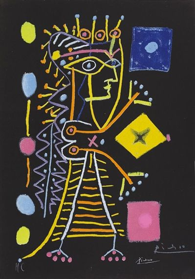 Pablo Picasso, Jacqueline (La Dame aux Dés), Made of color lithograph on black paper Enlarge Print Dimensions 47.5 x 30.5 cm (plate) Medium colour lithograph on black paper Creation Date 1960 Edition Number hors de commerce Notes Signed