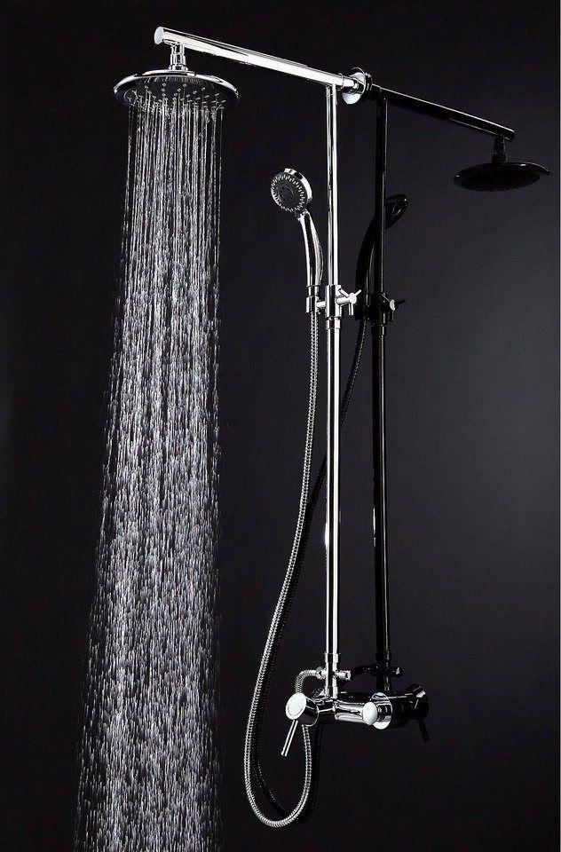 Überkopfbrause-Set »Aruba Fresh«, Durchmesser 20 cm für 119,99€. Metall-Brausestange mit höhenverstellbarem Steigrohr, Überkopfbrause (Durchmesser 20 cm) bei OTTO
