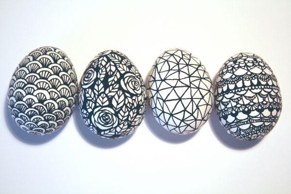 gekritzelte ostereier-design ideen-selber machen-schwarz weiß