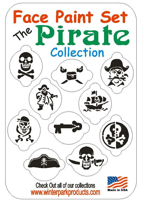 10 Piece Pirate Face Painting Stencil Set