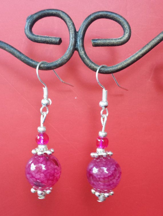 Pink and Silver drop Earrings by SusieandWendysShop on Etsy