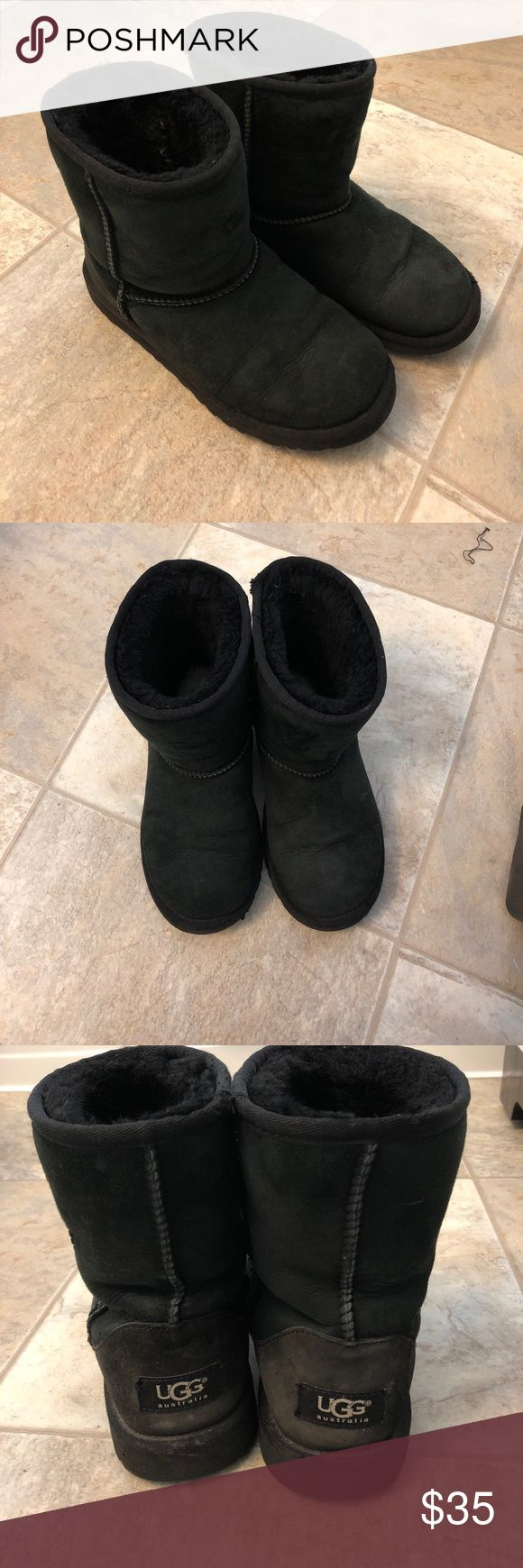 UGGS size 4 Uggs size 4 obviously worn & broken in. The fur inside has been broken into so they do fit a little bigger since its not as much fluff. Normal wear and tear UGG Shoes Boots