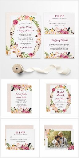 Invitation Suite: Bohemian Feather Floral Theme  #floralweddinginvitations  #weddinginvitations  #countrywedding #rusticwedding   If you want to plan a Bohemian wedding, this chic Bohemian Feather Floral Wedding Invitation Suite is the perfect choice for you. The stylish watercolor wreath floral with chic feathers is a hit pattern for a rustic boho wedding. This Bohemian Feather Floral Themed Invitation Suite features items from invitations to RSVP card, Thank You Card, Table Card, Wedding…