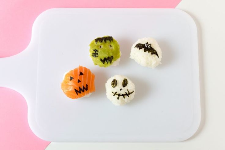 Save this creative recipe to make rolls of Monster Sushi for dinner on Halloween.
