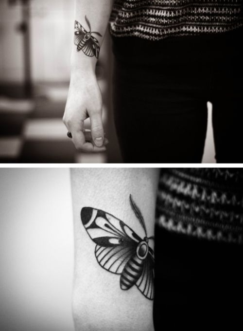Black and white Moth tattoo; love the style