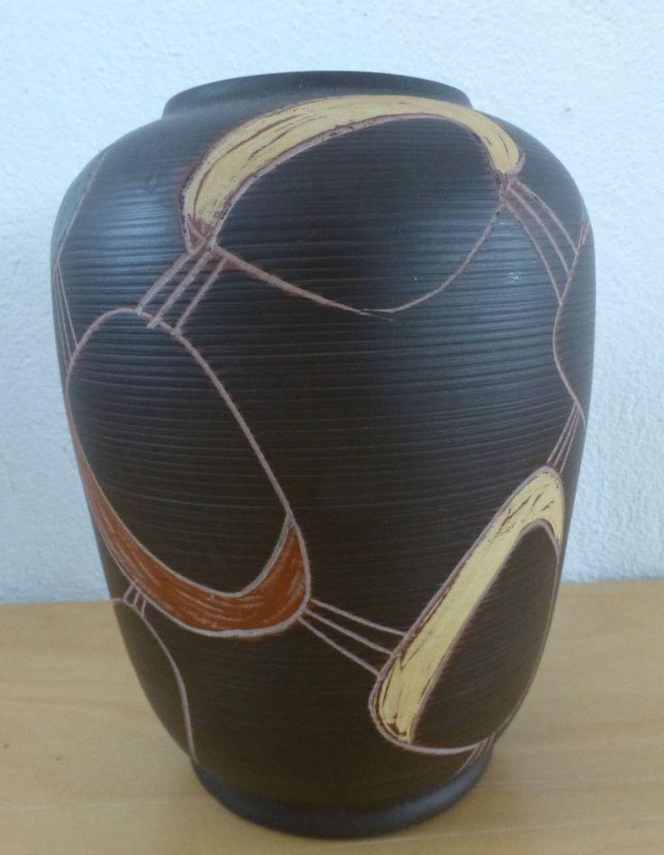 auffällige Vase @ tolles 50er Jahre Dekor @  Sawa Schwaderlapp Keramik @ 239-20  | eBay
