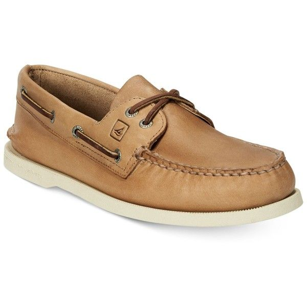Sperry Men's Authentic Original A/O Boat Shoes ($95) ❤ liked on Polyvore featuring men's fashion, men's shoes, men's loafers, oatmeal, mens deck shoes, mens shoes, mens leather shoes, mens boat shoes and mens sperry topsiders
