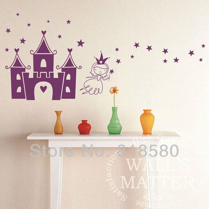 Envío gratuito de decoración para el hogar princesa hermosa en el castillo de la pared arte auto adhesivo
