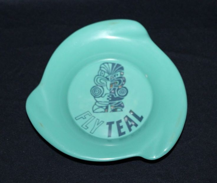 MCM New Zealand TASMAN EMPIRE AIRLINES LIMITED Green Ashtray With TIKI Motif  #MADEINJAPAN #ASHTRAY