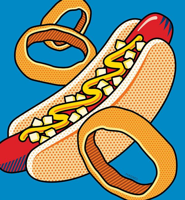 Hotdog On Blue by Ron Magnes