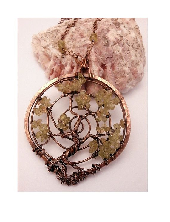 Sold! Peridot Bonsai, Wire Wrapped Tree of Life Pendant Necklace by PerfectlyTwisted