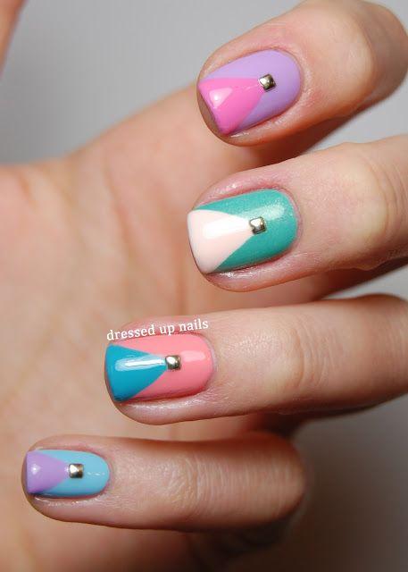 Dressed Up Nails - pastel studded chevron nail art