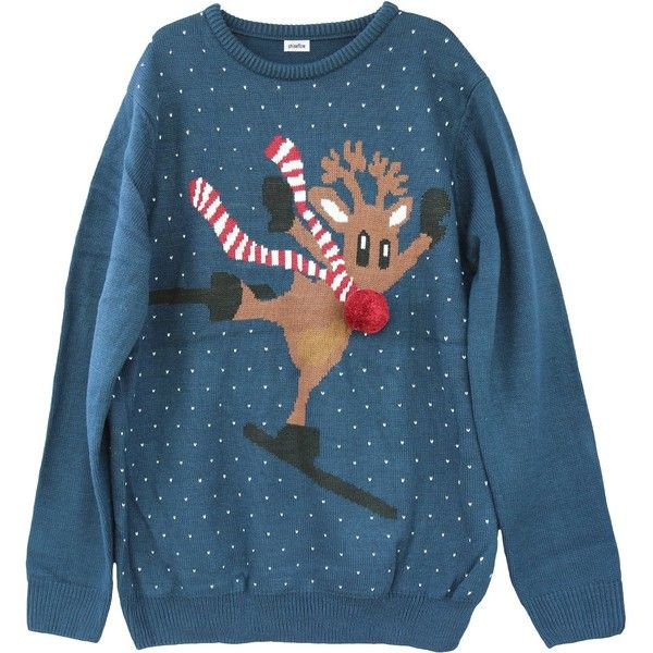 Shineflow Women's Rudolph Reindeer Ski Ugly Christmas Sweater Knitted... ($1.99) ❤ liked on Polyvore featuring tops, sweaters, jumpers sweaters, womens plus sweaters, plus size tops, blue christmas sweater and plus size christmas sweaters